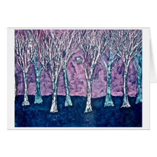 Greeting Card with Batik of Trees in Winter