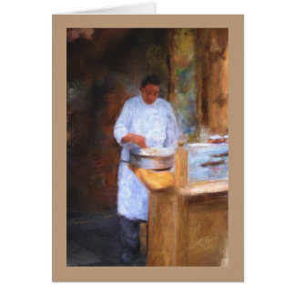 Greeting Card with Chef Making Crepes Painting