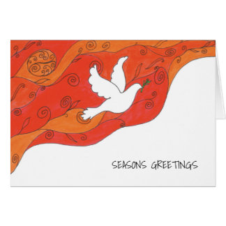 Greeting card with dove and spirals