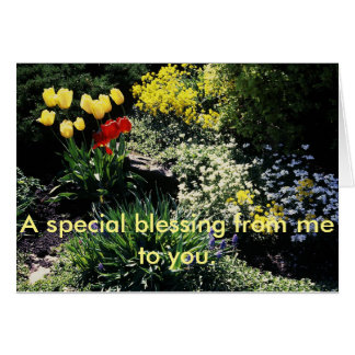 greeting card with flower garden
