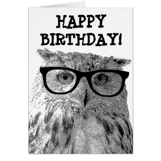 Greeting card with funny owl photograph