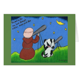Greeting card with monk and dog
