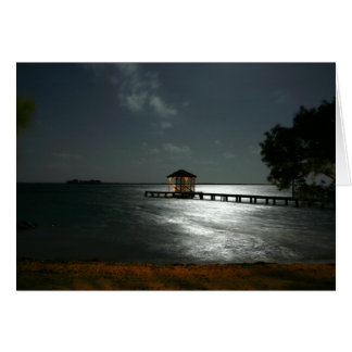 greeting card with photo of moonlit Belize cabana