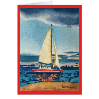 Greeting card with sailboat on red
