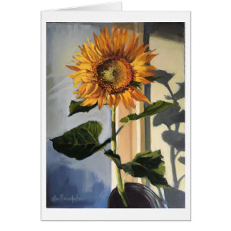 Greeting card with Sunflower in Window