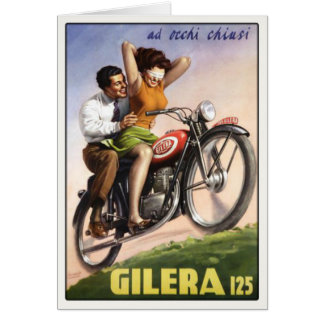 Greeting Card with Vintage Moto Poster Print