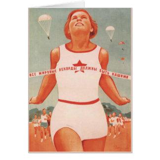 Greeting Card with Vintage Soviet Union Propaganda