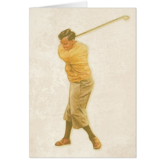 Greeting Card withVintage Golf Player