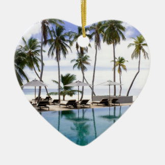 Greeting from Maldives Ceramic Heart Ornament