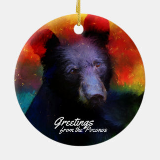 Greeting from the Poconos Colorful Black Bear Round Ceramic Ornament