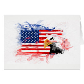 Greeting map. American Eagle, Flagge. The USA Card