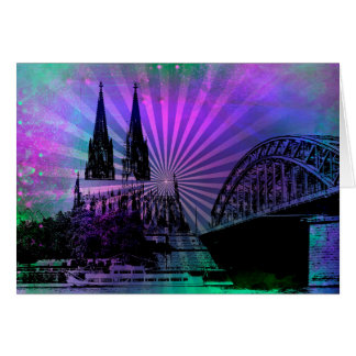Greeting map Cologne cathedral Card