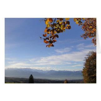 Greeting map mountain panorama, in blank card