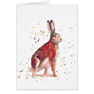 Greeting map with handpainted hare card