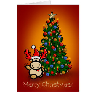 Greeting map with moose Elmondo and Christmas tree Card
