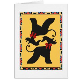 Greetings card Afghan hounds