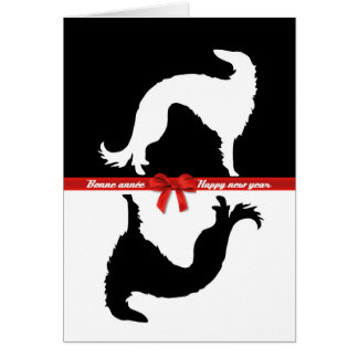 Greetings card Borzoi YIN