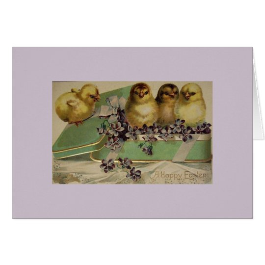 Greetings Card - Easter Chicks in a Tin