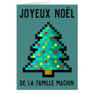 Greetings card Merry Christmas - pixel art fir