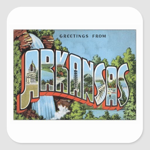 Greetings From Arkansas Square Stickers