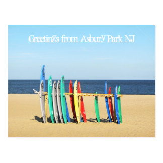 Greetings from Asbury Park NJ - Surfboards Postcard