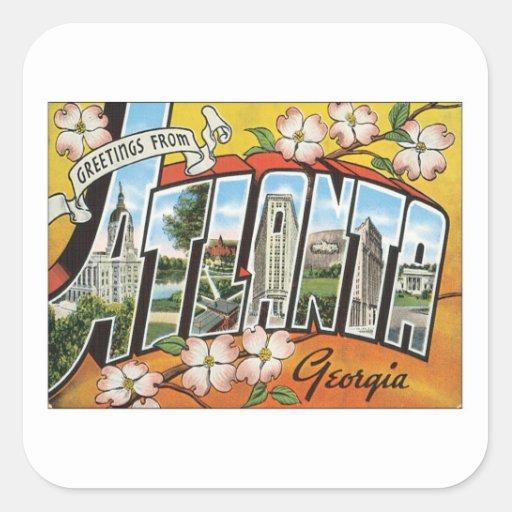 Greetings From Atlanta Square Sticker