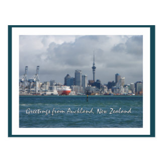 Greetings from Auckland city, New Zealand postcard