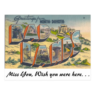 Greetings from Bad Lands, North Dakota Postcard