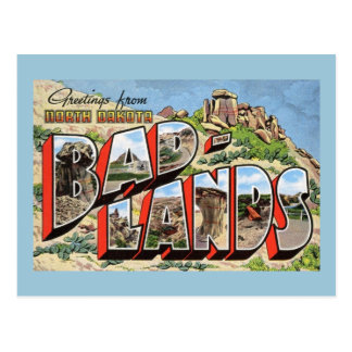 Greetings from Badlands, North Dakota Vintage Postcard
