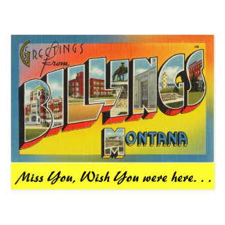 Greetings from Billings Postcard