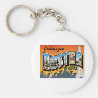 Greetings From Boston Massachusetts Basic Round Button Keychain