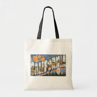 Greetings From California, Vintage Tote Bag