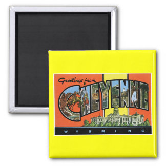 Greetings from Cheyenne,Wyoming! Vintage Post Card Square Magnet