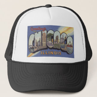 Greetings from Chicago Large Letter vintage theme Trucker Hat