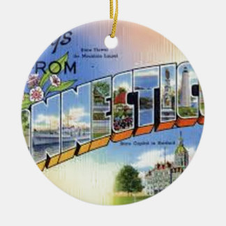 Greetings From Connecticut Ceramic Ornament