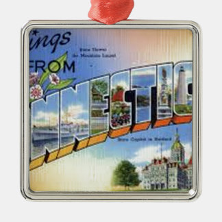 Greetings From Connecticut Metal Ornament
