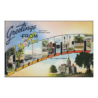 Greetings From Connecticut, Vintage Poster