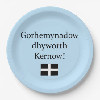 Greetings from Cornwall in Cornish Language Paper Plate