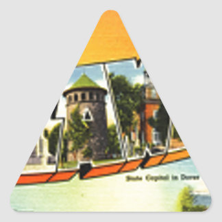 Greetings From Delaware Triangle Sticker