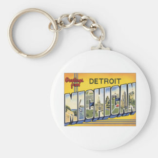 Greetings From Detroit Michigan Basic Round Button Keychain