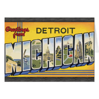 Greetings From Detroit Michigan, Vintage Card