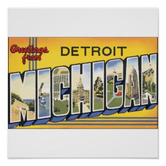 Greetings From Detroit Michigan, Vintage Poster