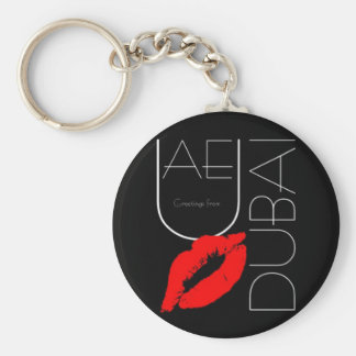 Greetings from Dubai UAE Red Lipstick Kiss Basic Round Button Keychain