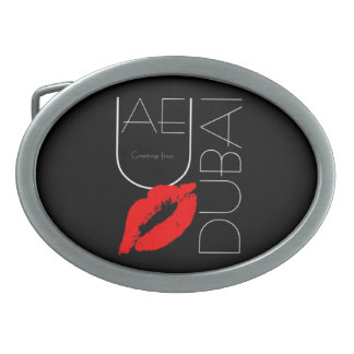 Greetings from Dubai UAE Red Lipstick Kiss Oval Belt Buckle