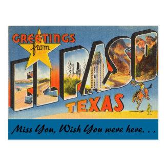 Greetings from El Paso Postcard