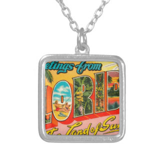 Greetings From Florida Silver Plated Necklace