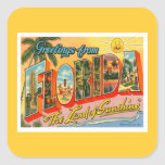 Greetings From Florida Square Stickers