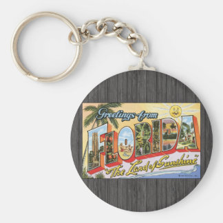 """Greetings From Florida """"The Land Of Sunshine"""", Vin Basic Round Button Keychain"""