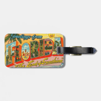 Greetings From Florida Vintage Postcard Luggage Tag