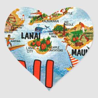 Greetings From Hawaii Heart Sticker